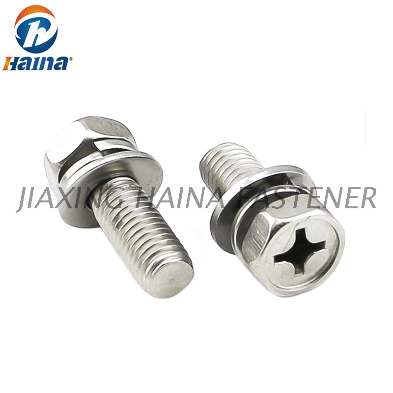 Stainless Steel 304 316 Phillip Drive Hex Head Combination Machine Screw