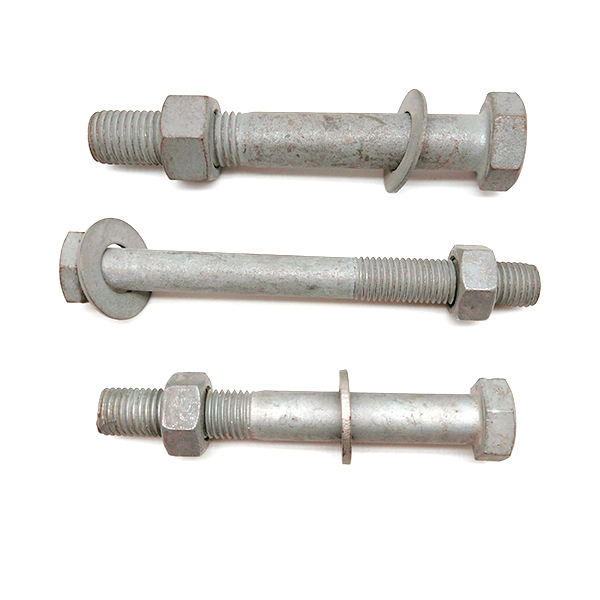 M16 M20 Carbon Steel Hot Dip Galvanized Hex Power Bolt And Nut with Plain Washer